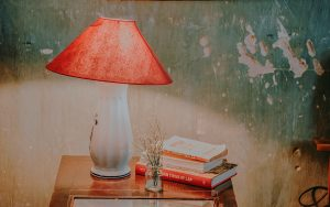 Afbeelding met rode lamp op tafeltje met boeken en vaasje bloemen voor groene muur - decoratieve afbeelding bij Writing for Fun and Sanity workshop review